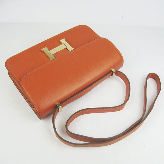 Hermes Handbags Constance Orange Cowskin Leather Gold Hardware Bag - Click Image to Close