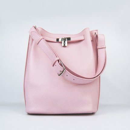 Hermes Handbags Picotin Herpicot 24cm Pink Cowskin Leather Silver Hardware Bag