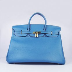 Hermes Handbags Birkin 40CM H6099 Blue Cowhide Leather Gold Hardware Bag