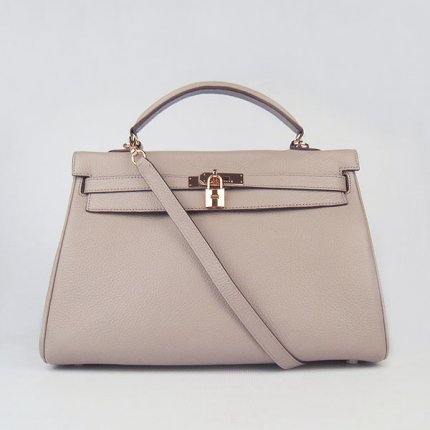 Hermes Handbags Kelly 35 CM Light Grey Cowskin Leather Gold Hardware Bag