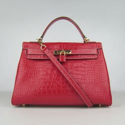 Hermes Handbags Kelly 32 CM Red Crocodile Leather Gold Hardware Bag