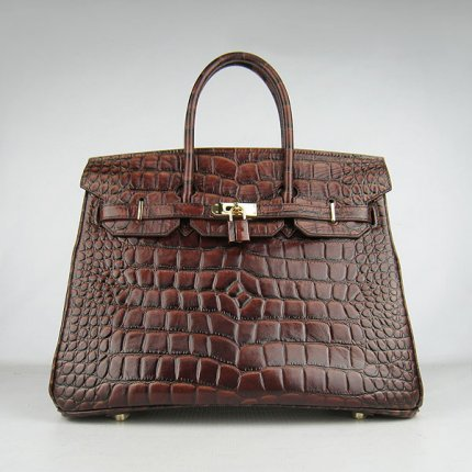 Hermes Handbags Birkin 35 CM Dark Brown Crocodile Stripe Bag