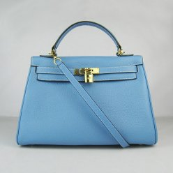 Hermes Handbags Kelly 32 CM Light Blue Lichee Pattern Leather Gold Hardware Bag (with white stitching)
