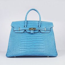 Hermes Handbags Birkin 35 CM Blue Crocodile Bag