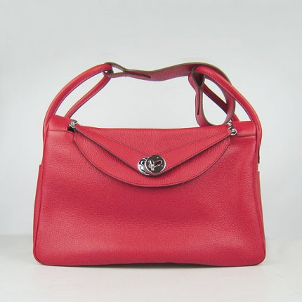 Hermes Handbags Lindy Red Cowskin Leather Silver Hardware Bag