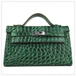 Hermes Handbags Kelly 22CM Dark Green Crocodile Leather Silver Hardware Bag