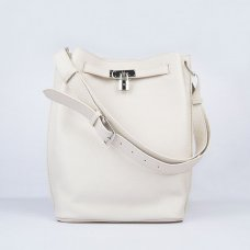 Hermes Handbags Picotin Herpicot Beige Cowskin Leather Silver Hardware Bag