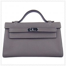Hermes Handbags Kelly 22CM Grey Lichee Stripe Leather Silver Hardware Bag