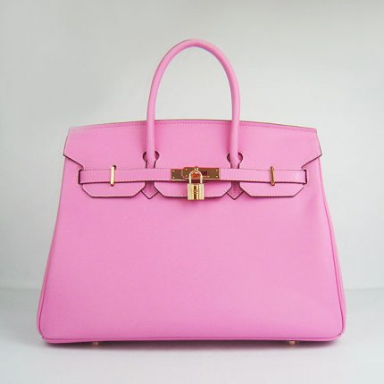 Hermes Handbags Birkin 35 CM Pink Plain Veins Bag