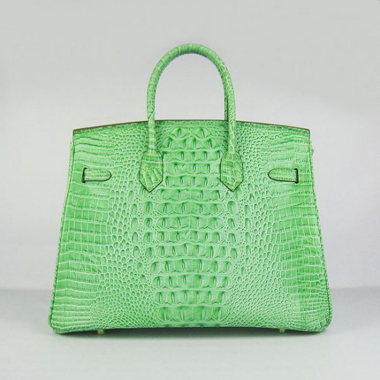 Hermes Handbags Birkin 35 CM Green Crocodile Scalp Bag - Click Image to Close