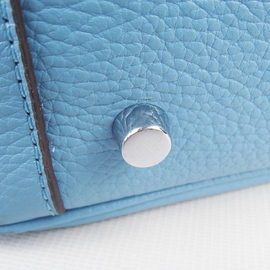 Hermes Handbags Lindy Light blue Cowskin Leather Silver Hardware Bag - Click Image to Close