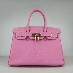 Hermes Handbags Birkin 30 CM Rose Red Pearl Stripe Bag
