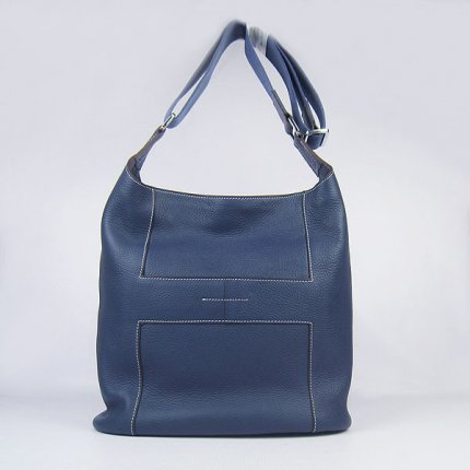 Hermes Handbags Picotin H2801 Dark Blue Cowskin Leather Silver Hardware Bag