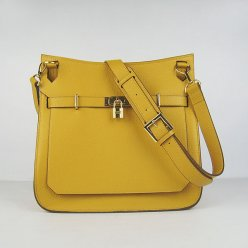Hermes Handbags Jypsiere Yellow Cowskin Leather Gold Hardware Bag