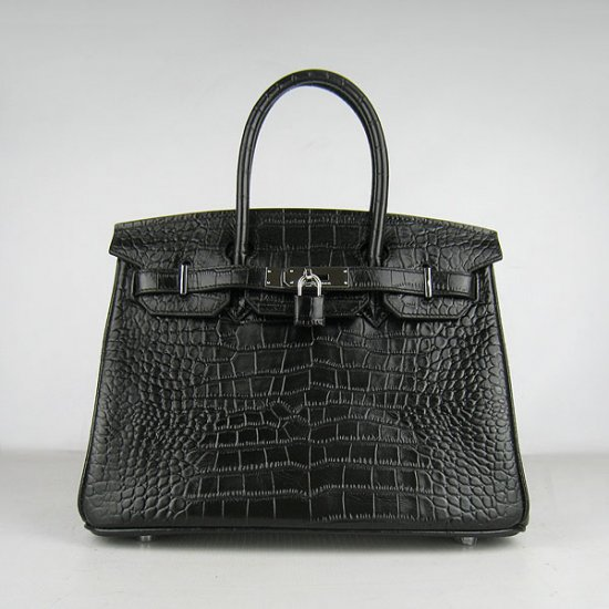 Hermes Handbags Birkin 30 CM Black Crocodile Bag - Click Image to Close