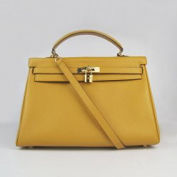 Hermes Handbags Kelly 35 CM Yellow Cowskin Leather Gold Hardware Bag