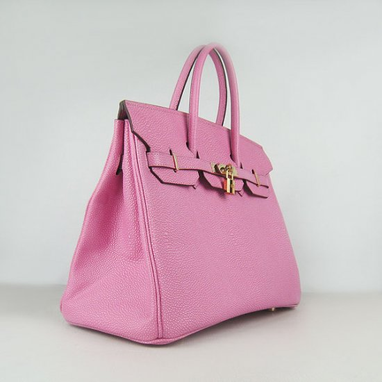 Hermes Handbags Birkin 35CM H6089 Rose Pearl Stripe Leather Gold Hardware Bag - Click Image to Close