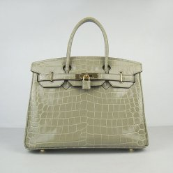 Hermes Handbags Birkin 30 CM Gray New Crocodile Veins Bag
