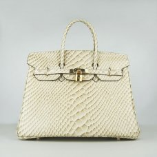 Hermes Handbags Birkin 35CM H6089 Beige Fish Stripe Leather Gold Hardware Bag