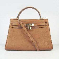 Hermes Handbags Kelly 32 CM Brown Lichee Pattern Leather Gold Hardware Bag
