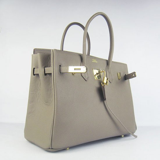 Hermes Handbags Birkin 35 CM Khaki Cow Neck Leather Bag - Click Image to Close