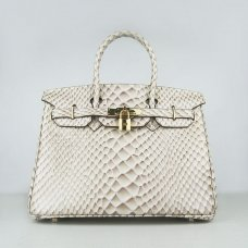 Hermes Handbags Birkin 30 CM Off White Fish Stripe Bag