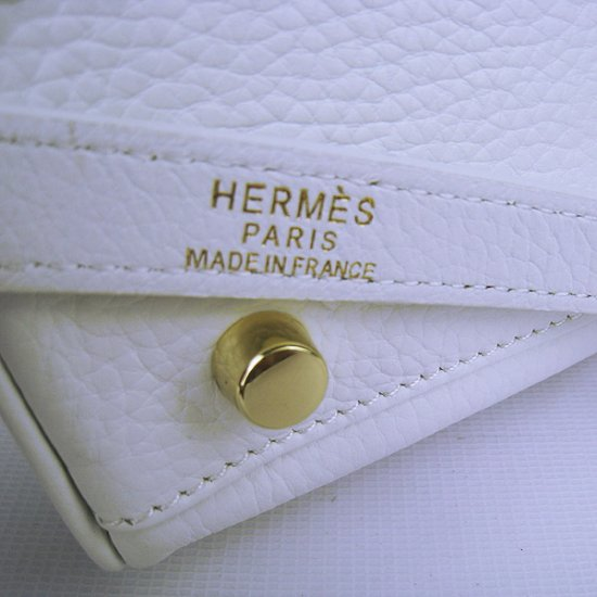 Hermes Handbags Kelly 35 CM White Cowskin Leather Gold Hardware Bag - Click Image to Close