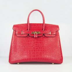 Hermes Handbags Birkin 35 CM Red Crocodile Bag