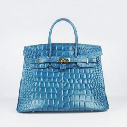 Hermes Handbags Birkin 35 CM Medium Blue Crocodile Stripe Bag