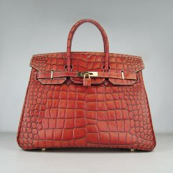 Hermes Handbags Birkin 35 CM Dark Orange Crocodile Stripe Bag