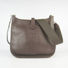 Hermes Handbags Evelyne III Dark Brown Cowskin Leather Silver Hardware Bag