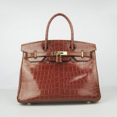 Hermes Handbags Birkin 30 CM Red Brown New Crocodile Veins Bag