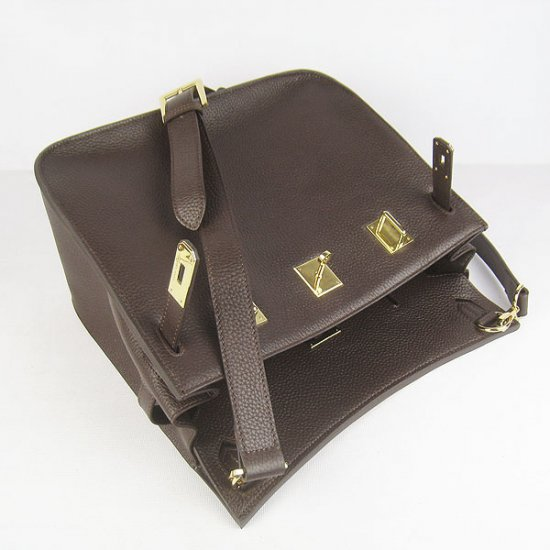 Hermes Handbags Jypsiere Dark Brown Cowskin Leather Gold Hardware Bag - Click Image to Close
