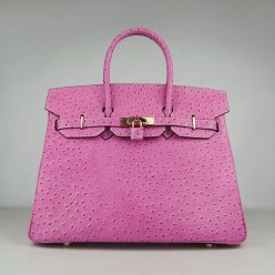 Hermes Handbags Birkin 35 CM Peach Ostrich Stripe Bag