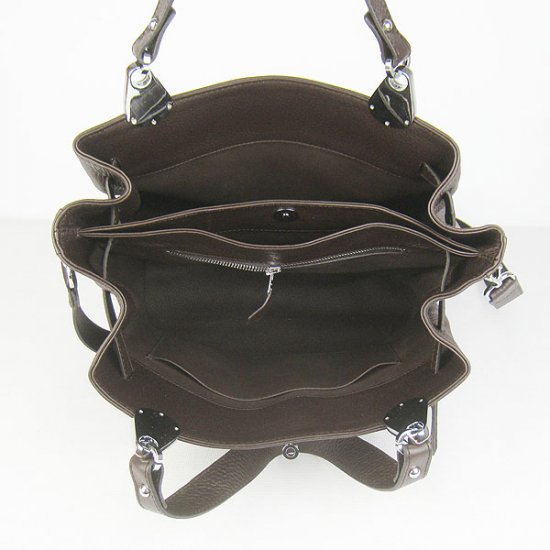 Hermes Handbags Picotin Herpicot Dark brown Cowskin Leather Silver Hardware Bag - Click Image to Close