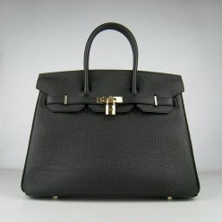 Hermes Handbags Birkin 35 CM Black Cow Neck Leather Bag