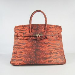 Hermes Handbags Birkin 35CM Orange Cabrite Stripe Leather Gold Hardware Bag