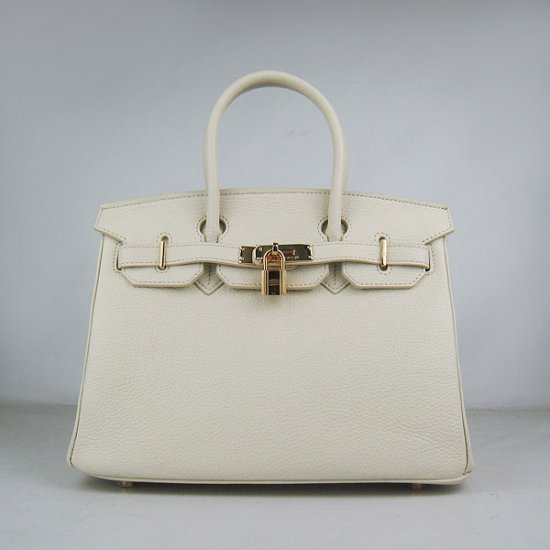Hermes Handbags Birkin 30 CM Off White Lichee Pattern Bag - Click Image to Close