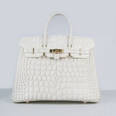 Hermes Handbags Birkin 35 CM Off White Crocodile Bag