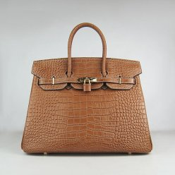 Hermes Handbags Birkin 35 CM Brown croco Bag