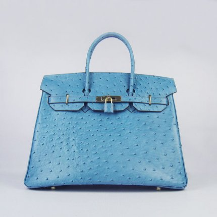 Hermes Handbags Birkin 35 CM Light Blue Ostrich Stripe Bag