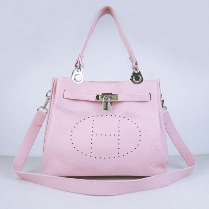 Hermes Handbags Picotin Herpicot Pink Cowskin Leather Silver Hardware Bag