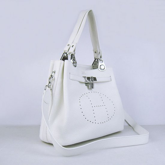 Hermes Handbags Picotin Herpicot White Cowskin Leather Silver Hardware Bag - Click Image to Close