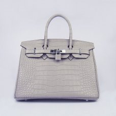 Hermes Handbags Birkin 30 CM Gray Crocodile Bag