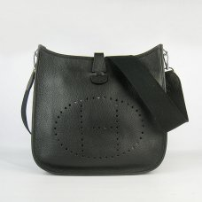 Hermes Handbags Evelyne III Black Cowskin Leather Silver Hardware Bag