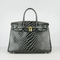 Hermes Handbags Birkin 30 CM Black Fish Stripe Bag