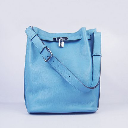 Hermes Handbags Picotin Herpicot Light Blue Cowskin Leather Silver Hardware Bag