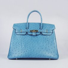 Hermes Handbags Birkin 35 CM Medium Blue Ostrich Stripe Bag