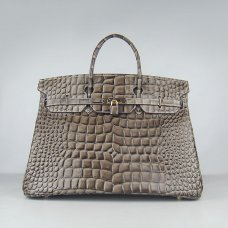 Hermes Handbags Birkin 40CM H6099 Khaki Crocodile Stripe Leather Gold Hardware Bag