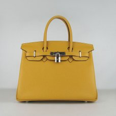 Hermes Handbags Birkin 30 CM Yellow Lichee Pattern Bag